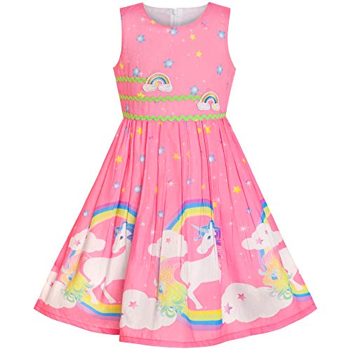Comprar Vestido para niña Fiesta Unicornio Arcoiris, Morado Rosa - Tiendas Online de Disfraces con Envíos Baratos o Gratis >>>