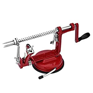 Pictek Apple Slicer, Stainless Steel Apple Peeler Corer and Slicer with Suction Base, Slicing Coring and Peeling Machine, Red
