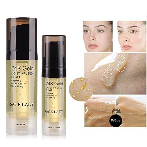 Cocohot 24k Gold Elixir Ultra Moisturizing Face Essential Oil Makeup Foundation Base Primer Anti-aging Brighter Facial Essential Cream 15ml
