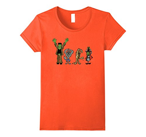 Halloween Mashups (Womens Monster Mashup Disco Dance Halloween T Shirt Small Orange)