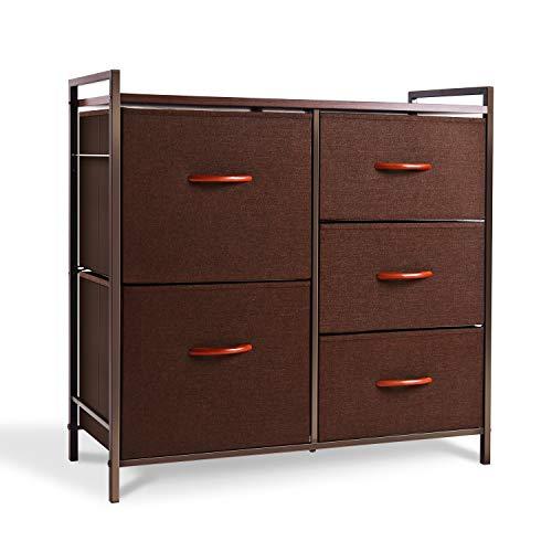ROMOON Dresser Organizer with 5 Drawers, Fabric Dresser Tower for Bedroom, Hallway, Entryway, Closets - Espresso