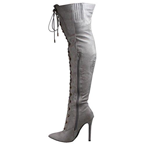 Estiletes Vestir Moda Ata Tramo Alto Mujer Gris Largo Tacón para Muslo Arriba txnHg0g8w
