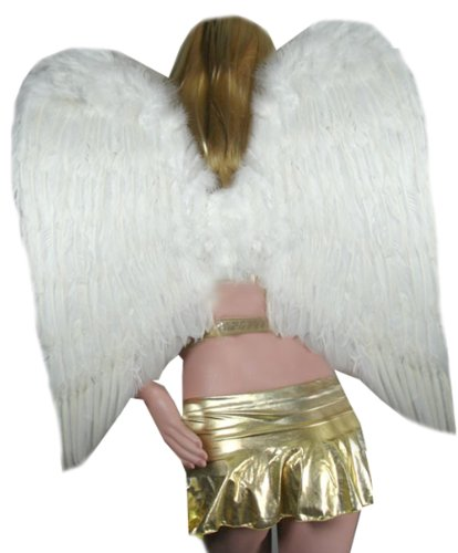 SACAS Large White Feather Angel Wings for photo props, cosplay, adults (Large White Feather Angel Wings)