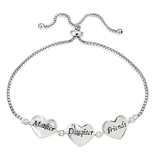 Sterling Silver MOM DAUGHTER FRIENDS Polished Heart Adjustable Bracelet (Polished Heart Slide)