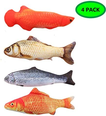 LOVEIFE 4 Pack Cat Catnip Toys, Kitty Fish Toy Pillow Chew Bite Kick Supplies for Pet - Vivid Color, Realistic and Safety 2