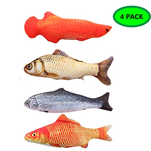 LOVEIFE 4 Pack Cat Catnip Toys, Kitty Fish Toy Pillow Chew Bite Kick Supplies for Pet - Vivid Color, Realistic and Safety ()