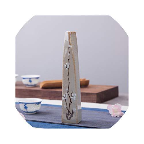 Jingdezhen Ceramic Vase Retro Hand-Painted Plum Bottle Coarse Pottery Table Decoration Decoration Mini Dry Flower,H