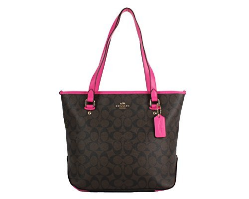 Coach Signature Zip Top Tote (Brown/Bright Fuchsia) by Coach
