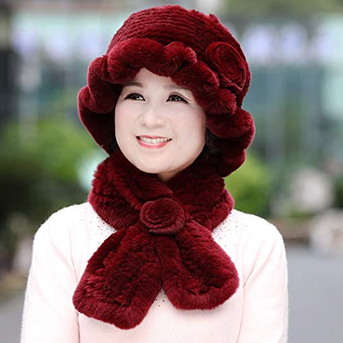 Dark red Ladies Autumn Winter Wool Winter Scarf Mother Grandma Fur hat