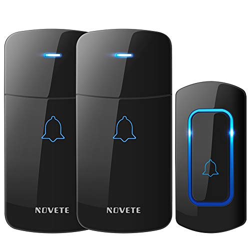 Chime Doorbell Kit - Wireless Doorbell Kit, NOVETE Door Bell Operating at Over 1300 Feet, Waterproof Door Chime Kit with Two Plug-in Receivers, LED Indicators, 52 Melodies, Easy Setup for Home and Office