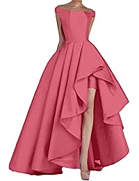 Womens High Low Satin Evening Prom Dress Long Off Shoulder Formal Gown P08