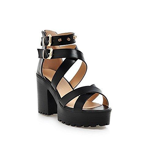 AllhqFashion Women's PU Solid Zipper Open Toe High-Heels Heeled-Sandals Black
