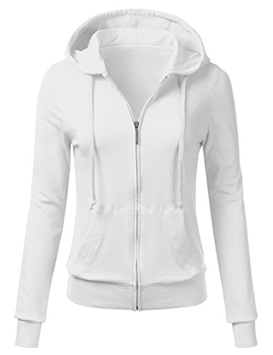 FLORIA Women Casual Basic Solid Knit Stretch Lightweight Zip Up Hooded Jacket WHITE (Cotton Stretch Jacket)