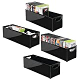 mDesign Plastic Stackable Household Storage Organizer Container Bin with Handles - for Media Consoles, Closets, Cabinets - Holds DVD's, Video Games, Gaming Accessories, Head Sets - 4 Pack - Black
