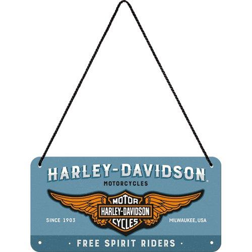 Nostalgic-Art 28023 Harley Davidson Logo Blue | Ré tro hä ngeschild | Vintage Dé coration Murale | Panneau de Porte |Metall | 10 x 20 cm, Multicolore, 10 x 20 x 0,1 cm 10x 20x 0 1cm