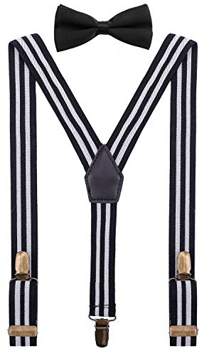 - Zymoo Little Boys' Adjustable Suspender with Pretied Bow Y Back 75cm, Black White Striped