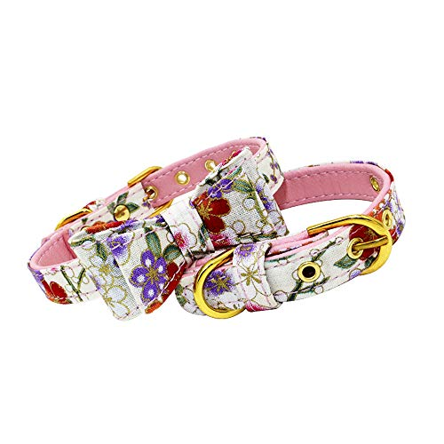 (AIYOHE Dog Cat Collar Bow tie Soft Comfortable Adjustable Collar Spring Scent Floral Collection - Regular Personalized Collars and Seatbelts for Dogs (L(14.2