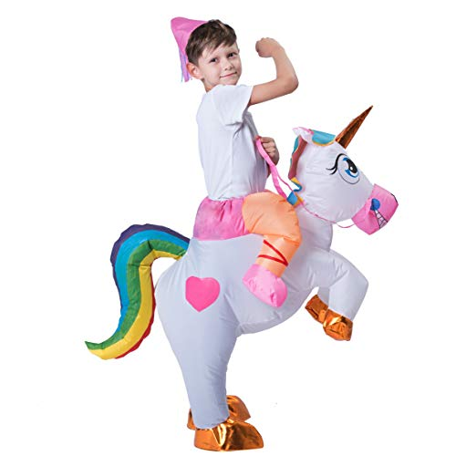 Spooktacular Creations Inflatable Riding a Unicorn Air Blow-up Deluxe Costume - Child One Size Fits 4-8yr (40''-52'' Height) by Spooktacular Creations (Image #1)