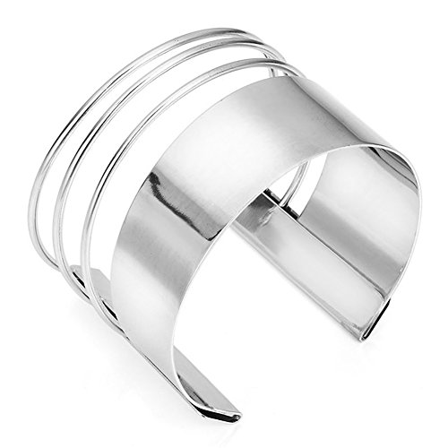 MXYZB Stainless Steel Smooth Hollow Hoop Open Ended Wide Cuff Bangle Bracelet (Sliver) Adjustable Wide Bangle Bracelet