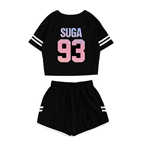 JUNG KOOK Kpop BTS Album Love Yourself:Tear Sports Hot Pants + Midriff-baring Shirts Set