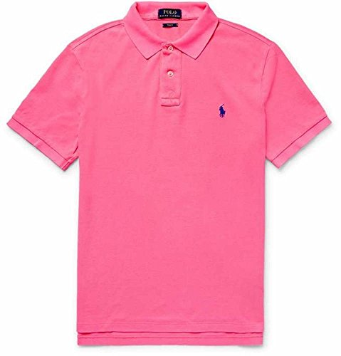 POLO RALPH LAUREN Men's Slim Fit Pique Mesh Polo Shirt (Pink, Large)