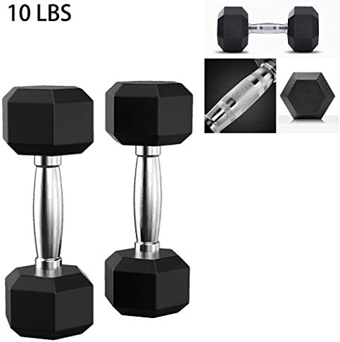 G&Kshop Rubber Encased Hex Dumbbell, 5-50 Pounds Hex Rubber Weights Workout Dumbbells Set Metal Ergonomic Handles for Home Gym Exercise