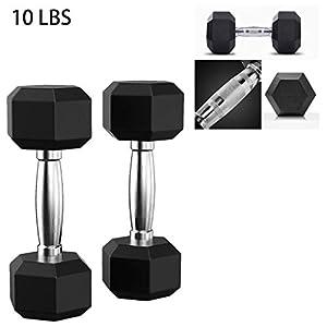 G&Kshop Rubber Encased Hex Dumbbell, 5-50 Pounds Hex Rubber Weights Workout Dumbbells Set Metal Ergonomic Handles for Home Gym Exercise