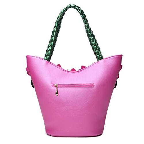 PU Handbag SUNROLAN Rose Bags Leather Shoulder Purse Handle 3D Red Bag Weave Women's Crossbody Flower with Tote qRRwUxBAY