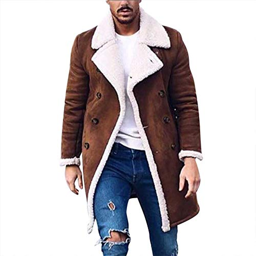 5024d050aa35 kemilove Men's Winter Double Breasted Shearling Lined Long Suede Jacket