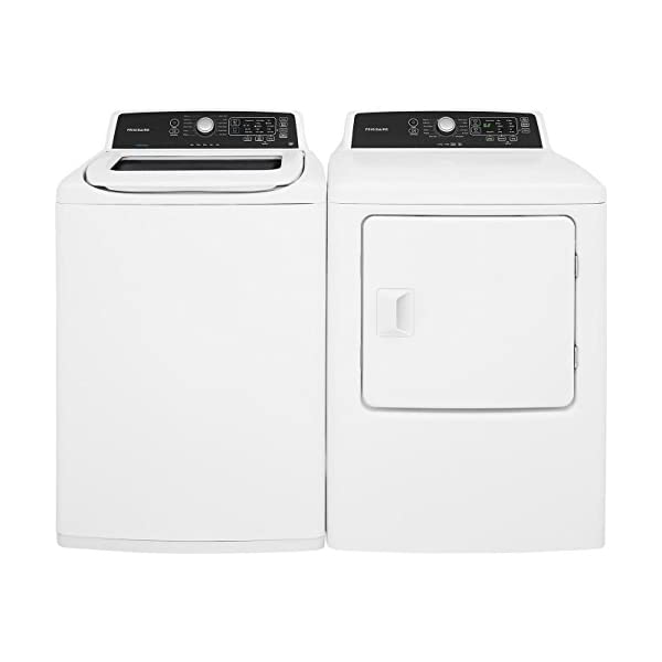 Frigidaire White Top Load Laundry Pair with FFTW4120SW 27″ Washer and FFRE4120SW 27″ Electric Dryer