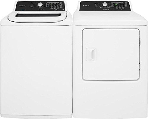 Frigidaire White Top Load Laundry Pair with FFTW4120SW 27″ Washer and FFRG4120SW 27″ Gas Dryer