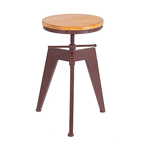 IKAYAA Metal Swivel Barstools Height Adjustable Industrial Style Home Kitchen Dining Chair