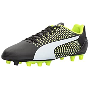 PUMA Men's Adreno III FG Soccer-Shoes, Black White-Safety Yellow,11 M US