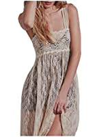 CA Fashion Women's Floral Lace Empire Waist Maxi Full Length Party Dress