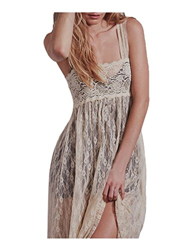 CA Fashion Women's Floral Lace Empire Waist Maxi Full Length Party Dress, Beige, Small