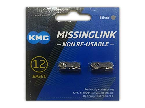 KMC Missing Link 12: for 12 Speed Chain, Silver, Perfectly Connecting KMC, SRAM, Shimano Chains, 2 - Chain Link 12