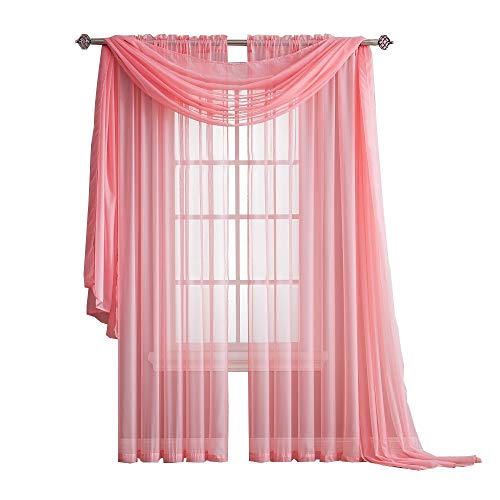 Warm Home Designs Standard Length Rose Pink Sheer Window Scarf. Valance Scarves are 56 X 144 Inches in Size. Great As Window Treatments, Bed Canopy Or for Decorative Project. Color: Rose 144