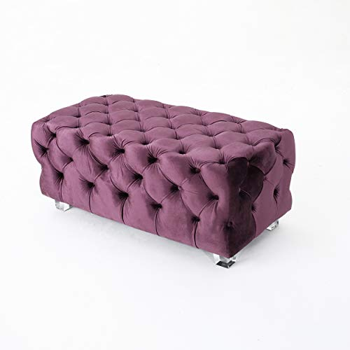 Christopher Knight Home Lazio Tufted New Velvet Ottoman Raisin