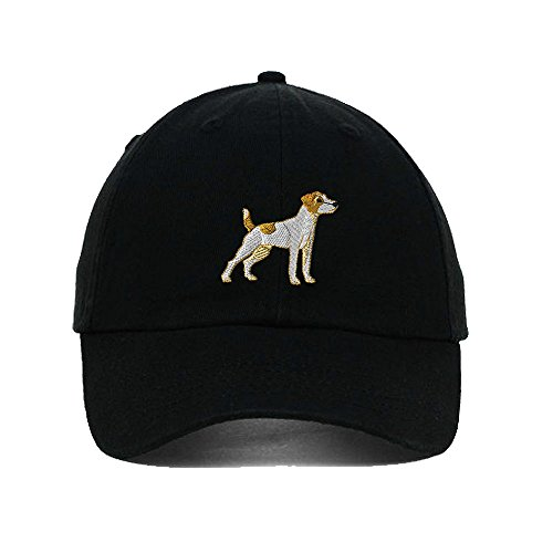 Jack Russell Terrier Embroidery Twill Cotton 6 Panel Low Profile Hat Black
