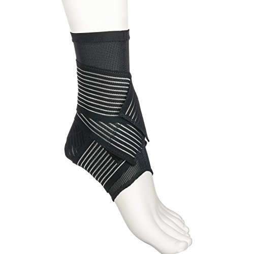 Active Ankle 329 Ankle Brace, Ankle Stabilizer Compression Sleeve with Straps, Braces for Volleyball, Football, Basketball, Rugby, Compression Sock for Protection & Sprain Support, Black, Large