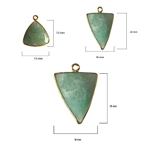 2 Pcs Amazonite Triangle Beads 15mm 24K gold vermeil by BESTINBEADS, Amazonite Hydro Quartz Triangle Pendant Bezel Gemstone Connectors over 925 sterling silver bezel jewelry making supplies