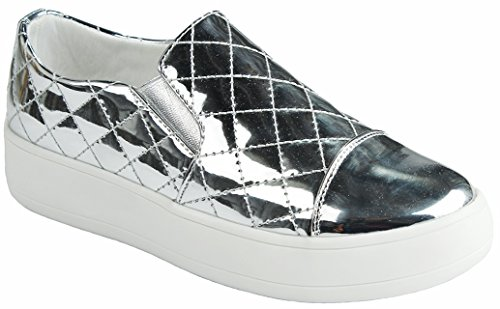Women Slip-On Quilted Leatherette Flatform Thick Rubber Platform Sole Fashion Sneakers Silver bsd2uoh8zh