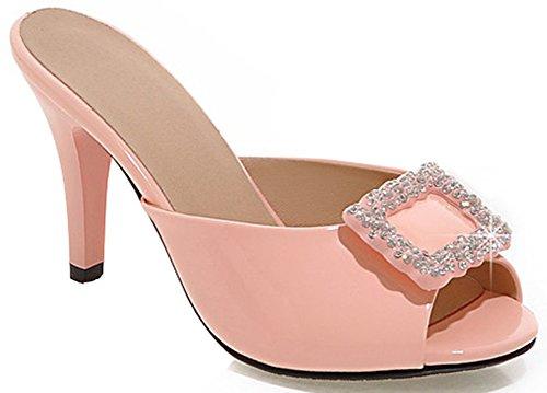 IDIFU Women's Sexy Rhinestone Stiletto High Heels Slide Sandals Peep Toe Party Mules Pink 5.5 B(M) US