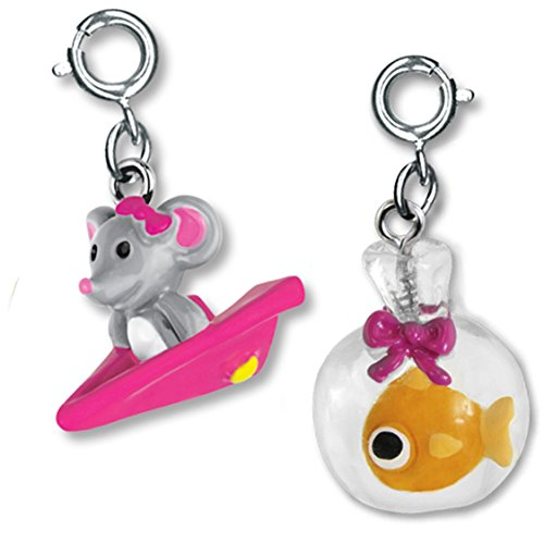 CHARM IT! Playful Pets Goldfish in a Bag and Airplane Mouse Two Charm Set (Resin Goldfish In)