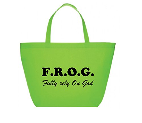Fully Rely On God Tote Bags Bulk, F.R.O.G. Items, Party Bags, Halloween Tote Bags, 6 Pack ()