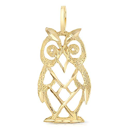 Owl Gold 14k Yellow (Ioka - 14K Yellow Gold Owl Charm Pendant For Necklace or Chain)