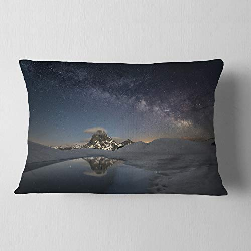Designart CU9428-12-20 Dark Mountains in Spain' Landscape Photo Throw Pillow, 12'' x 20'' by Designart