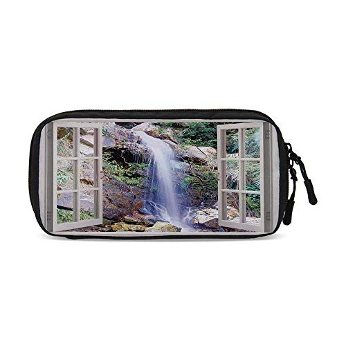 House Decor Practical Data Storage Bag,Open Window Sees A Small Water Cascade Flowing Down Hills Recreational Picture for Organizing Cables,One Size