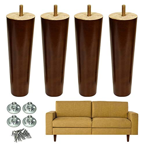 Walnut Couch - Furniture Leg Sofa Legs Wood 8 inch Midcentury Walnut Color Chair Legs Replacement 5/16 inch Bolt Set of 4
