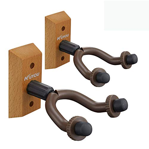 2pcs Guitar Wall Hangers Holders Stands Racks Hooks Fits Most of Guitars Easy to Install (Brown)